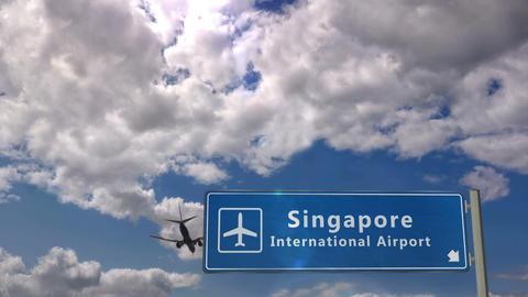 Airplane landing at Singapore Stock Video Footage