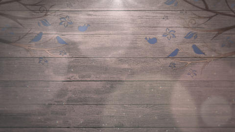 Closeup motion birds on trees on wood, wedding background Animation