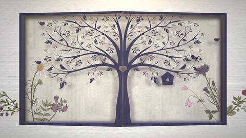 Closeup vintage flowers and tree motion, wedding background Animation