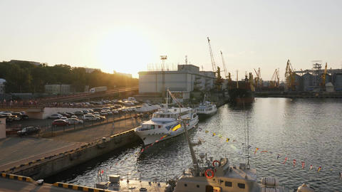 ODESSA, UKRAINE - AUG 24, 2019: Ships and port cranes of Odessa sea commercial Live Action