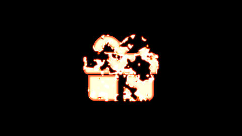 Symbol gift burns out of transparency, then burns again. Alpha channel Premultiplied - Matted with Animation