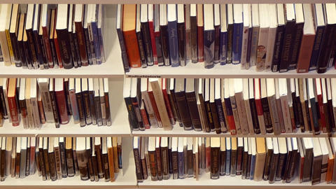 Bookshelves Filled With Books In The Library Footage