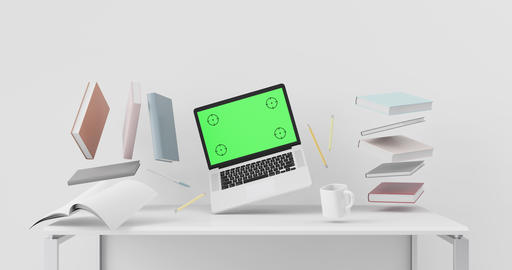 Workplace zero gravity concept with laptop mockup Live Action