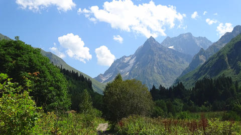 Time lapse mountains scene in national park of Dombay, Caucasus, Russia, Europe Footage