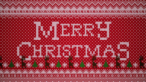 Merry Christmas Animation In A Knitted Christmas Sweater Style With Trees Reindeer And Snow Looping Animation
