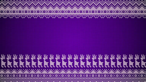 Purple Christmas Background In A Knitted Style With Reindeer And Patterns Looping Video Background Animation