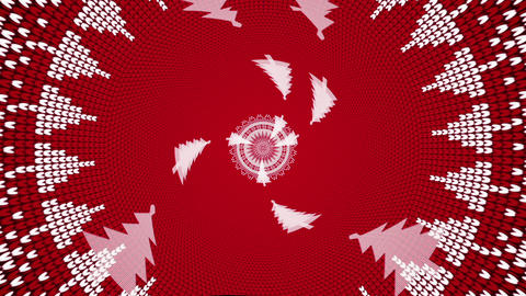Abstract Animation Of A Knitted Tunnel Of Christmas Trees VJ Loop Animation