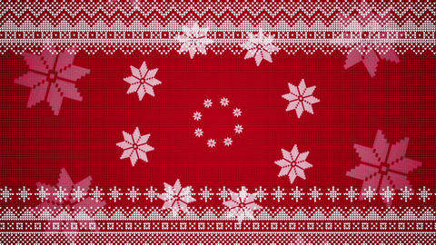 Christmas Animation In A Knitted Style With Stars Forming Circles And Patterns Moving Horizontally Animation
