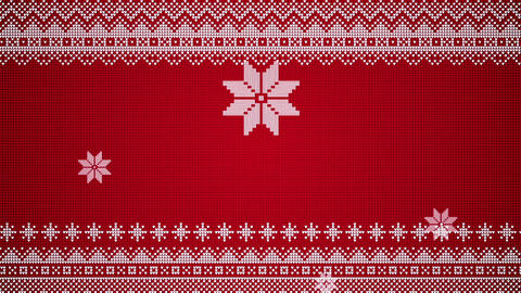 Christmas Stars Moving In A Knitted Style White On Red Looping Video Background Animation