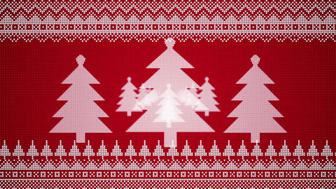 Christmas Trees Move Towards The Viewer In A Seamlessly Looping Animation In Knitted Christmas Style Animation