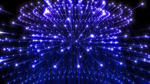 Three Dimensional Structure Made Of Glowing Blue Lights Slowly Moves Seamless Loop Animation