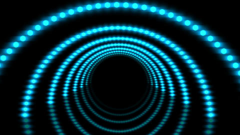 Turquoise 3D light tunnel stage video loop background, perfect for dance parties, music videos, Animation