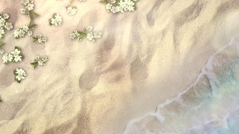 Closeup sandy beach with blue waves of ocean and flowers, summer background Animation