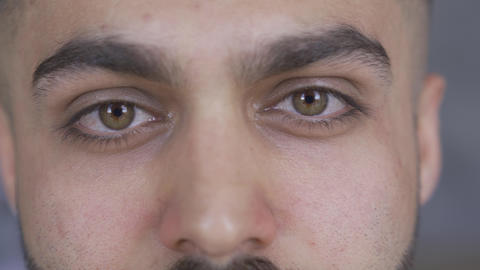Extreme close-up of attractive brown-eyed man with beard and mustaches looking Live Action