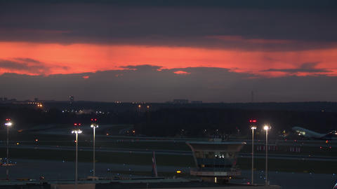 Aeroflot passenger aircraft departing in the dusk, Russia Live Action