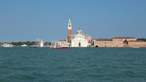 Venice, Italy - June 30, 2018: Panoramic view of San Giorgio Maggiore Island Footage