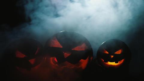 Jack-o-lanterns with burning fire inside Footage