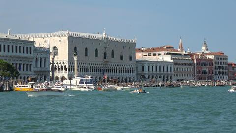 Panoramic view of Venice coast with historical buildings and Laguna Veneta Footage