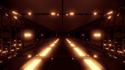 dark futuristic scifi tunnel with hot metal glowing in bottom 3D illustration Animation