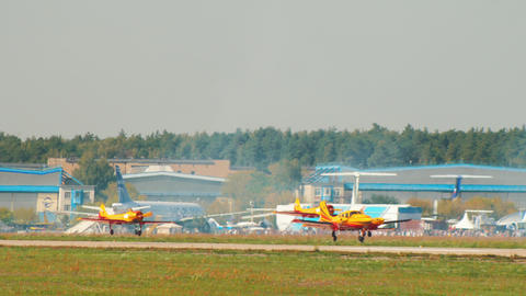 30 AUGUST 2019 MOSCOW, RUSSIA: several light multi-purpose aircrafts gaining Live Action