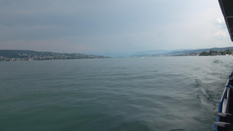 View on Zurich lake from ship, Switzerland, Europe Live Action