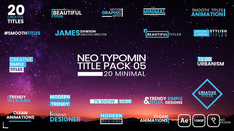 20 Typomin Title Pack 05 AE After Effects Template