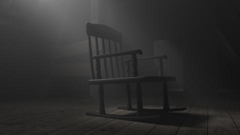 Animation of old rocking chair at dark attic Animation
