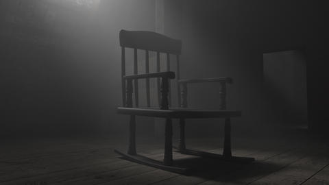 Animation of old rocking chair at dark attic Stock Video Footage