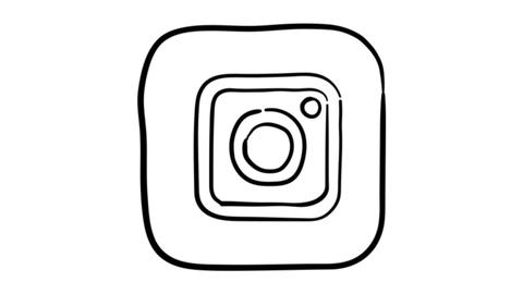 Icon Instagram whiteboard animation 4K footage Live Action