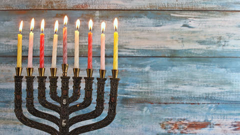 Menorah abstract retro of jewish holiday Hanukkah with menorah traditional with Footage