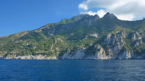 Seashore and green hills of Amalfi Coast in summer Live Action