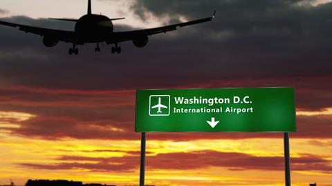 Plane landing in Washington D.C Animation
