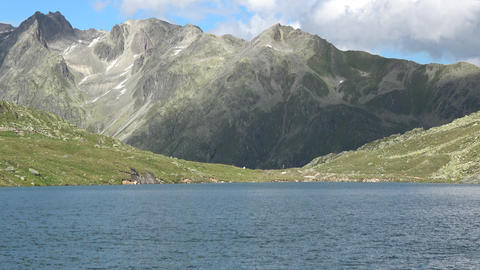 Scenic View On Peak Of Mountains And Lake In Swiss Alps Stock Video Footage