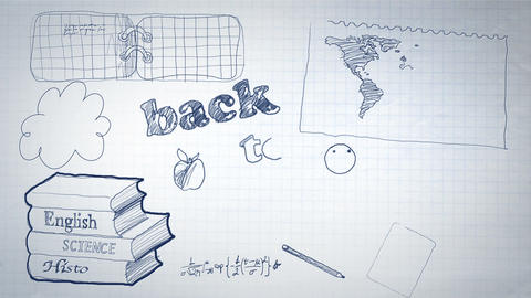 Back to School Scribbling Animation Stock Video Footage
