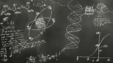 Math and Science Blackboard Scribbling Stock Video Footage