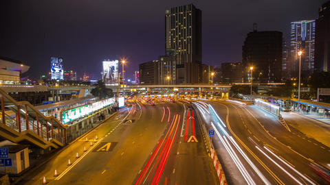 Busy traffic entering tunnel in Hong Kong Stock Video Footage