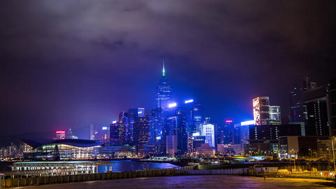 Cloudy night in Wan Chai Stock Video Footage