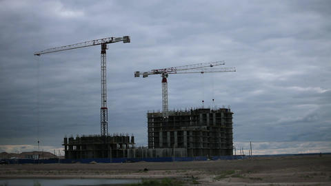 tower cranes work Stock Video Footage