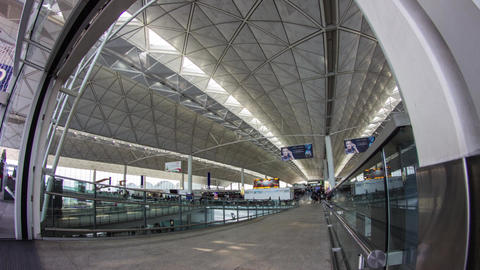 People getting into Hong Kong Airport Stock Video Footage