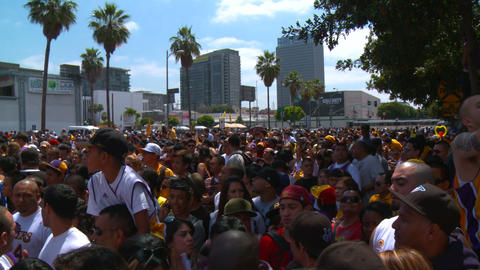 20100621 LAKERS CROWD 01 Stock Video Footage