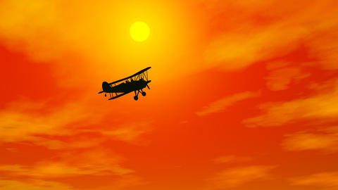 Biplan in burning sky - 3D render Animation