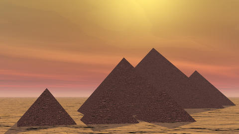 Pyramids in Egypt - 3D render 애니메이션