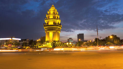 4K Sunset Timelapse of the Independence Monument in Phnom Penh, Cambodia Footage