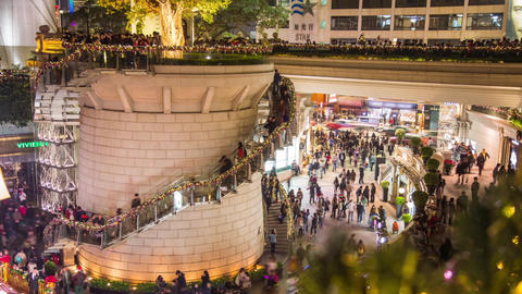Crowds walking at Christmas Time in Tsim Sha Tsui Stock Video Footage