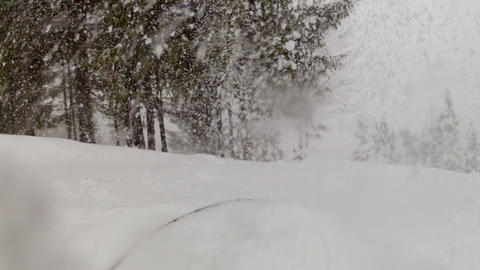 Snowboarding in the mountain forest Footage