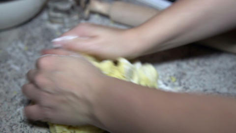 Woman preparing pastry on the table Footage