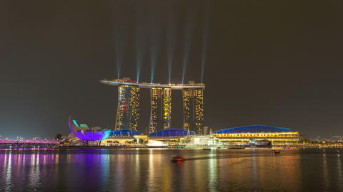 4K Timelapse - Singapore Marina Bay Sands Laser Show Stock Video Footage