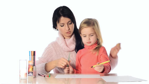 Mother and daughter girl draw together Stock Video Footage
