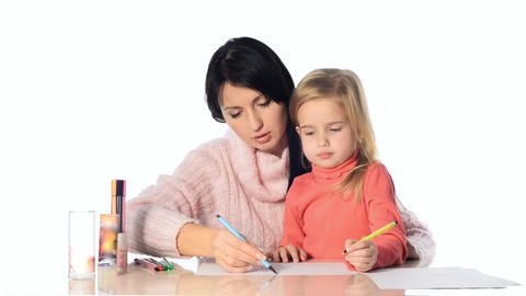 Mother and daughter girl draw together Footage