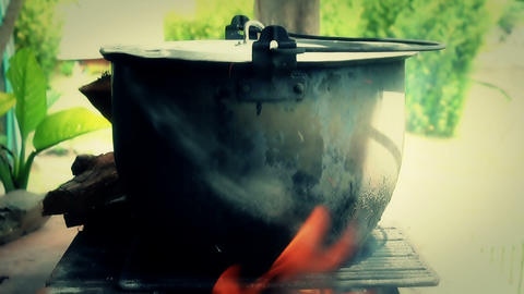 Fire  Soup  Pot  01 stock footage
